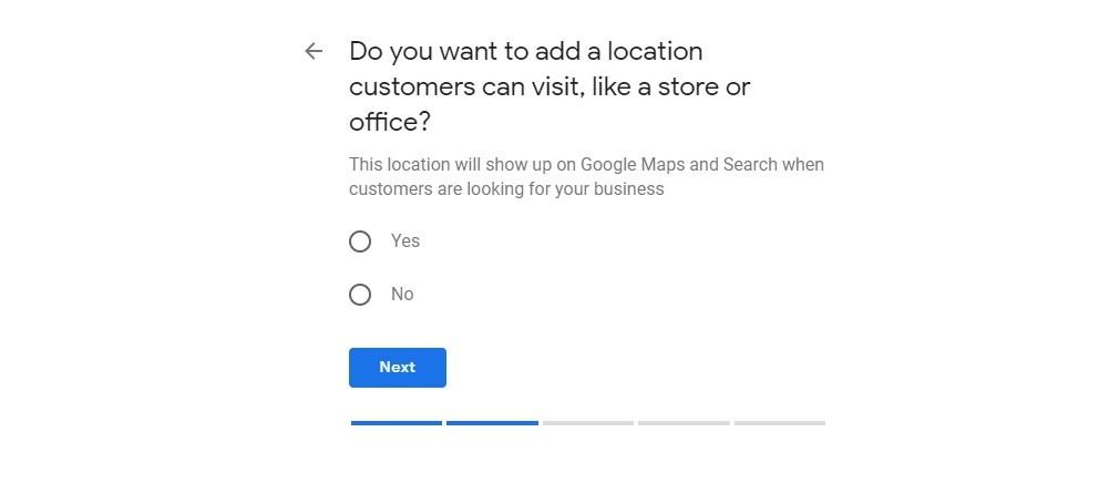Google My Business. Ubicación del negocio