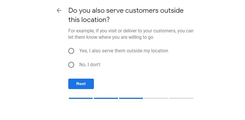 Google My Business. Área de servicio