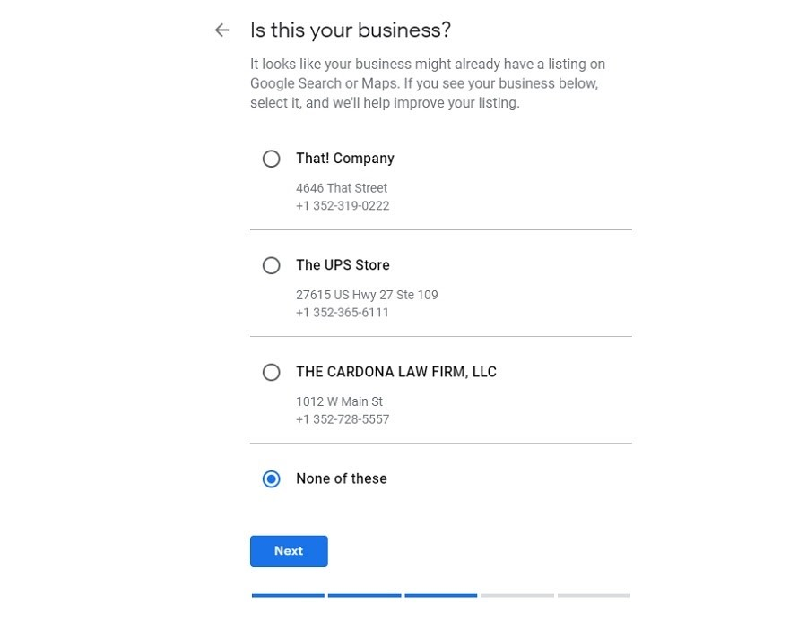 Google My Business. Listado de negocios