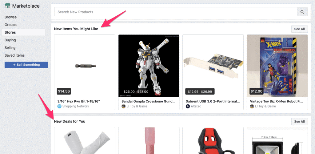 Marketplace de Facebook. Recomendaciones personalizadas
