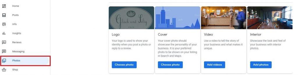 Google My Business. Fotos