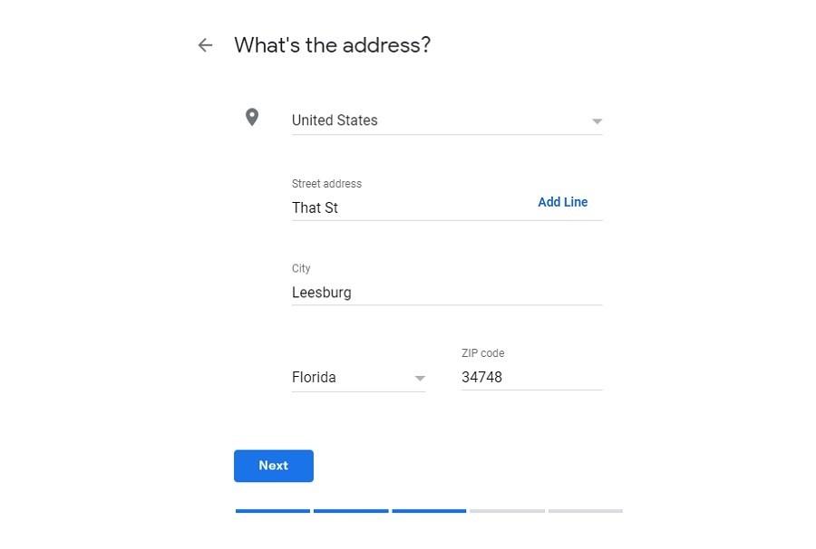 Google My Business. Dirección del negocio