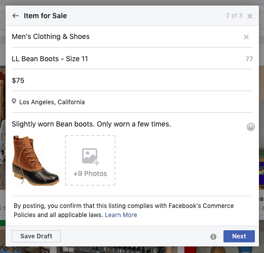 Anuncio de producto en el Marketplace de Facebook