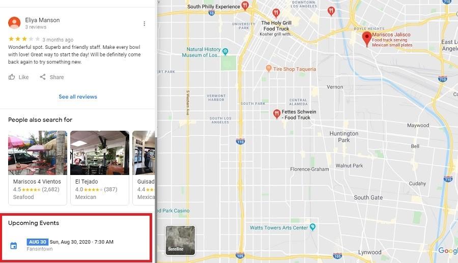 Google My Business. Eventos