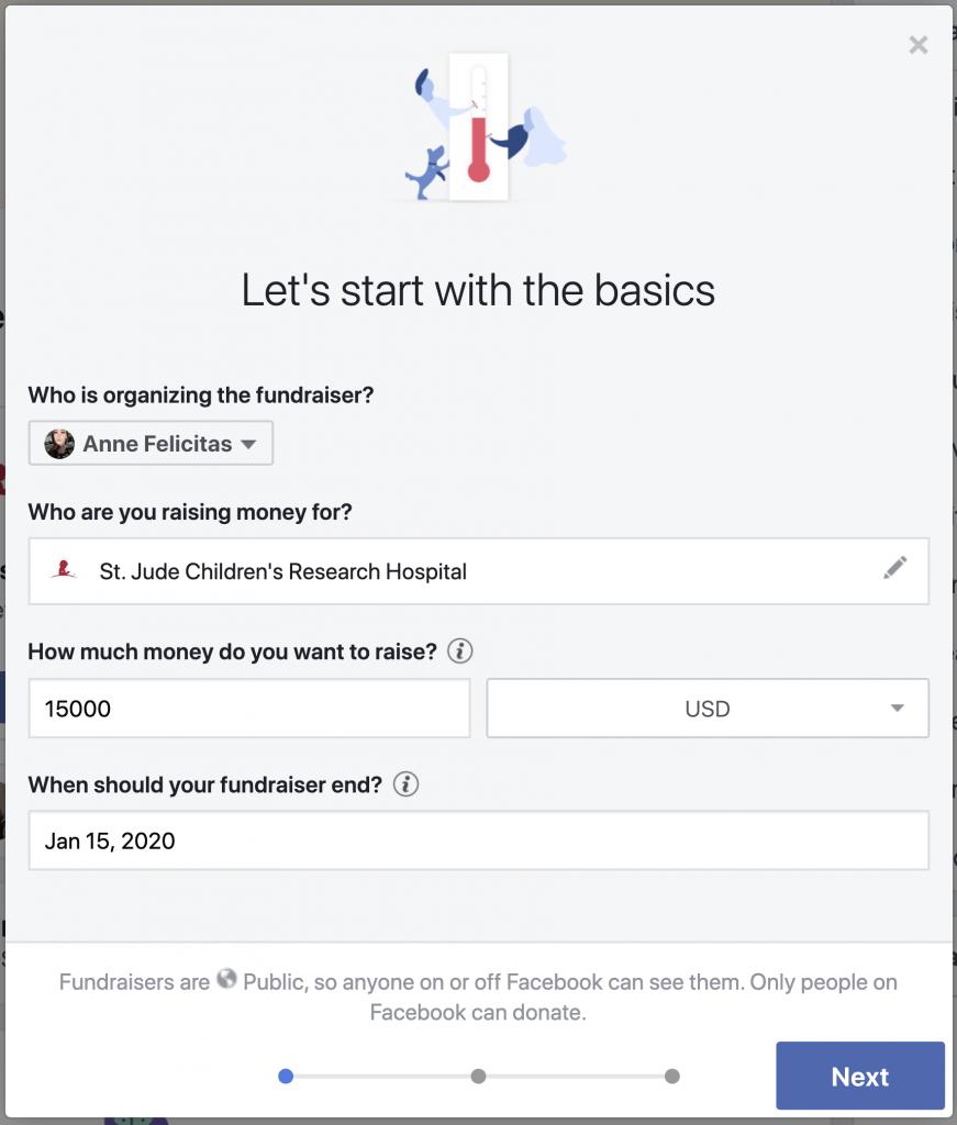 Facebook. Datos de la campaña de recaudación de fondos.