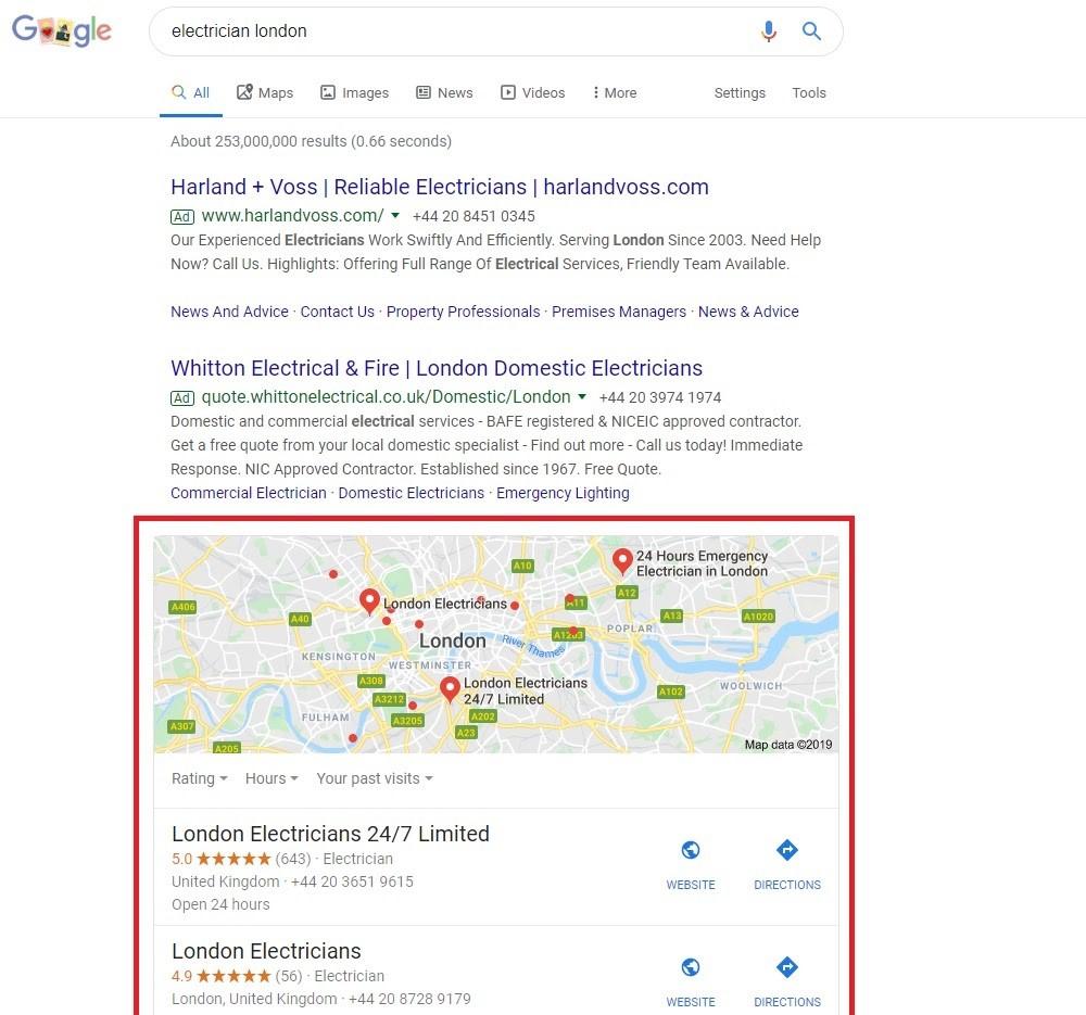 Listados de Google My Business. Resultados locales principales
