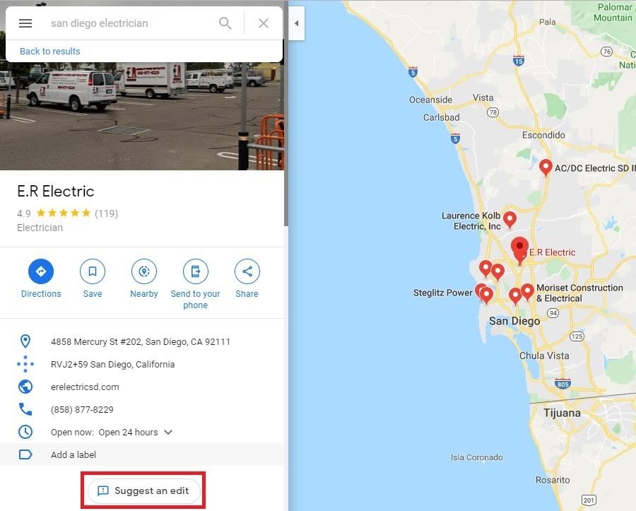 Google My Business. Sugerir una edición