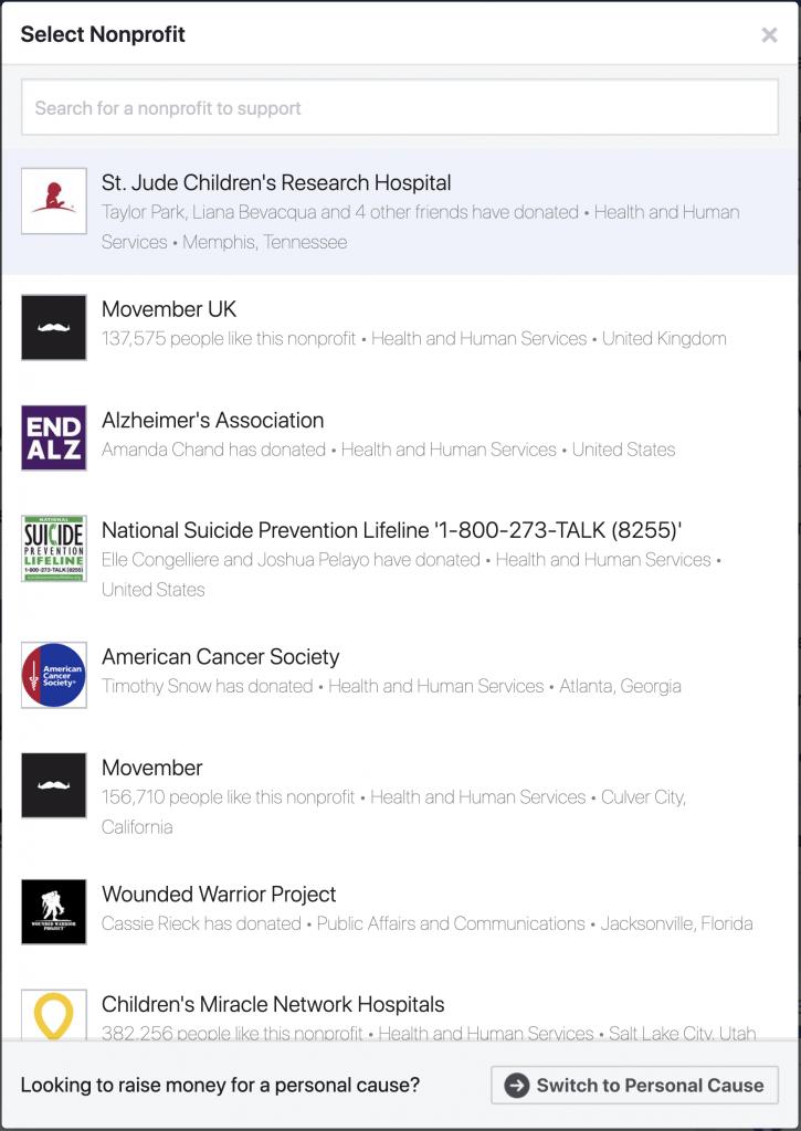 Lista de organizaciones sin fines de lucro