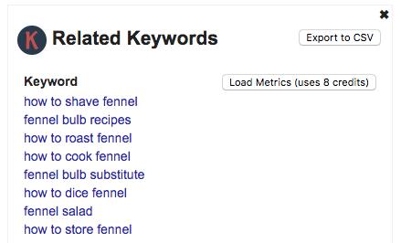 Lista de palabras claves en Keywords Anywhere
