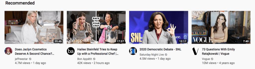 Miniaturas de videos en Youtube