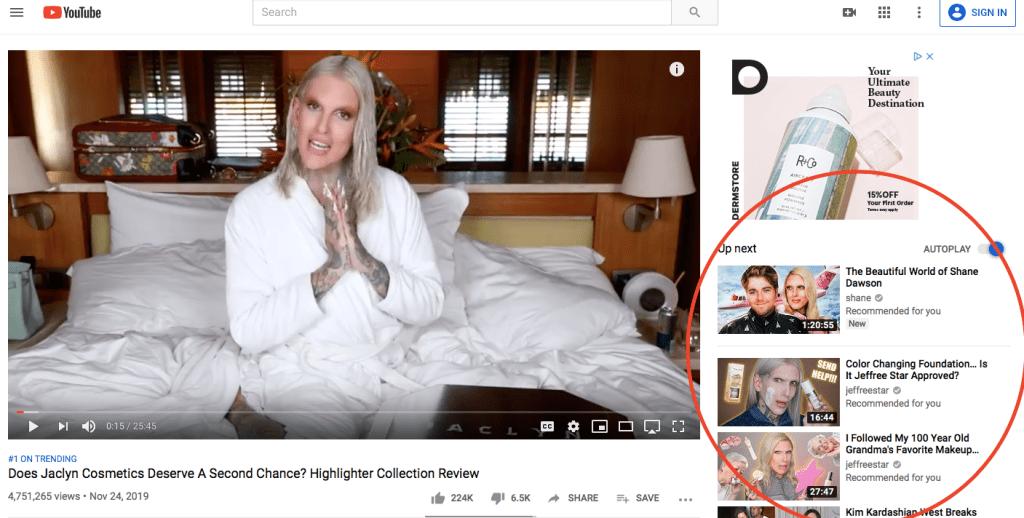 Videos siguientes o relacionados en Youtube