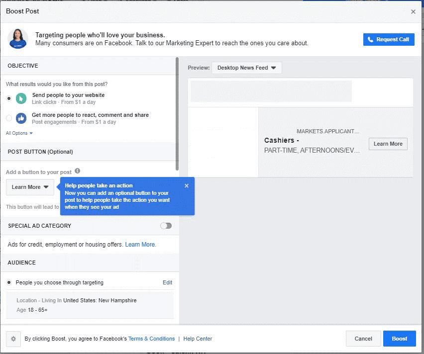 Impulsar tu publicación de oferta de trabajo en Facebook