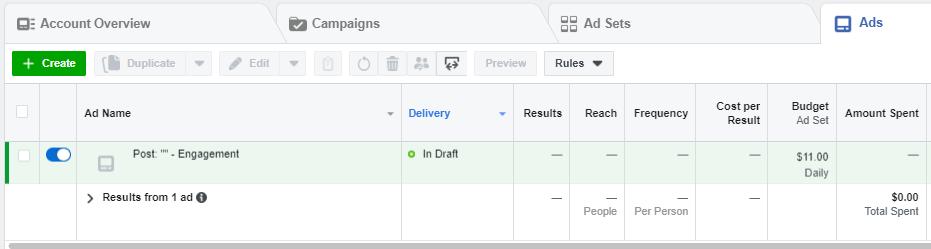 Cómo monitorear y ajustar programación de anuncios en Facebook Ads, Ads Manager, Dashboard, Account Overview, Campaigns, Ad Sets