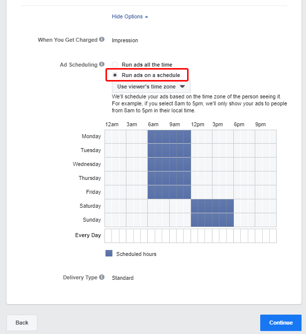 Programación de la campaña de anuncios en Facebook Ads, Ads Manager, Dashboard, Run ads on a schedule