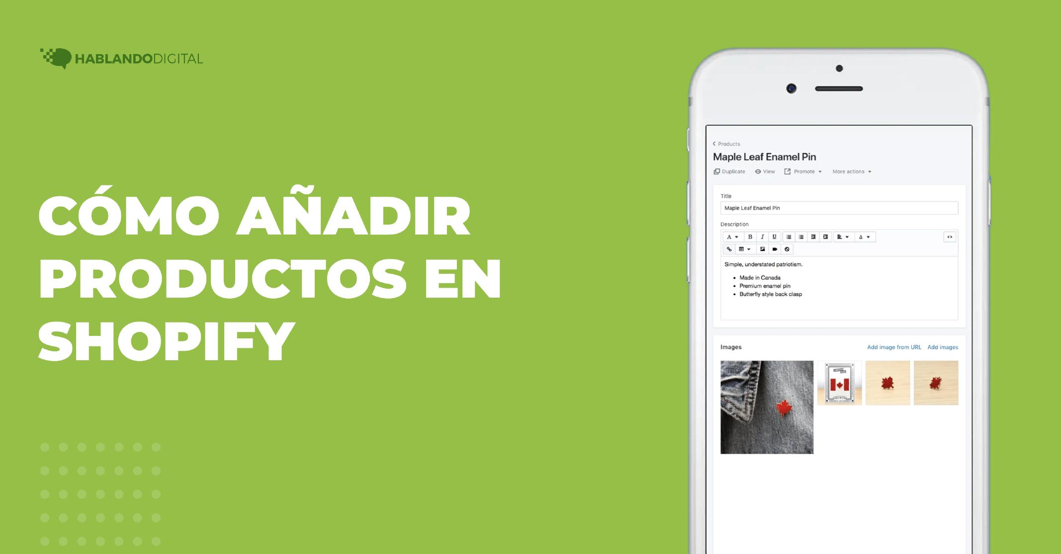 Cómo añadir productos en Shopify