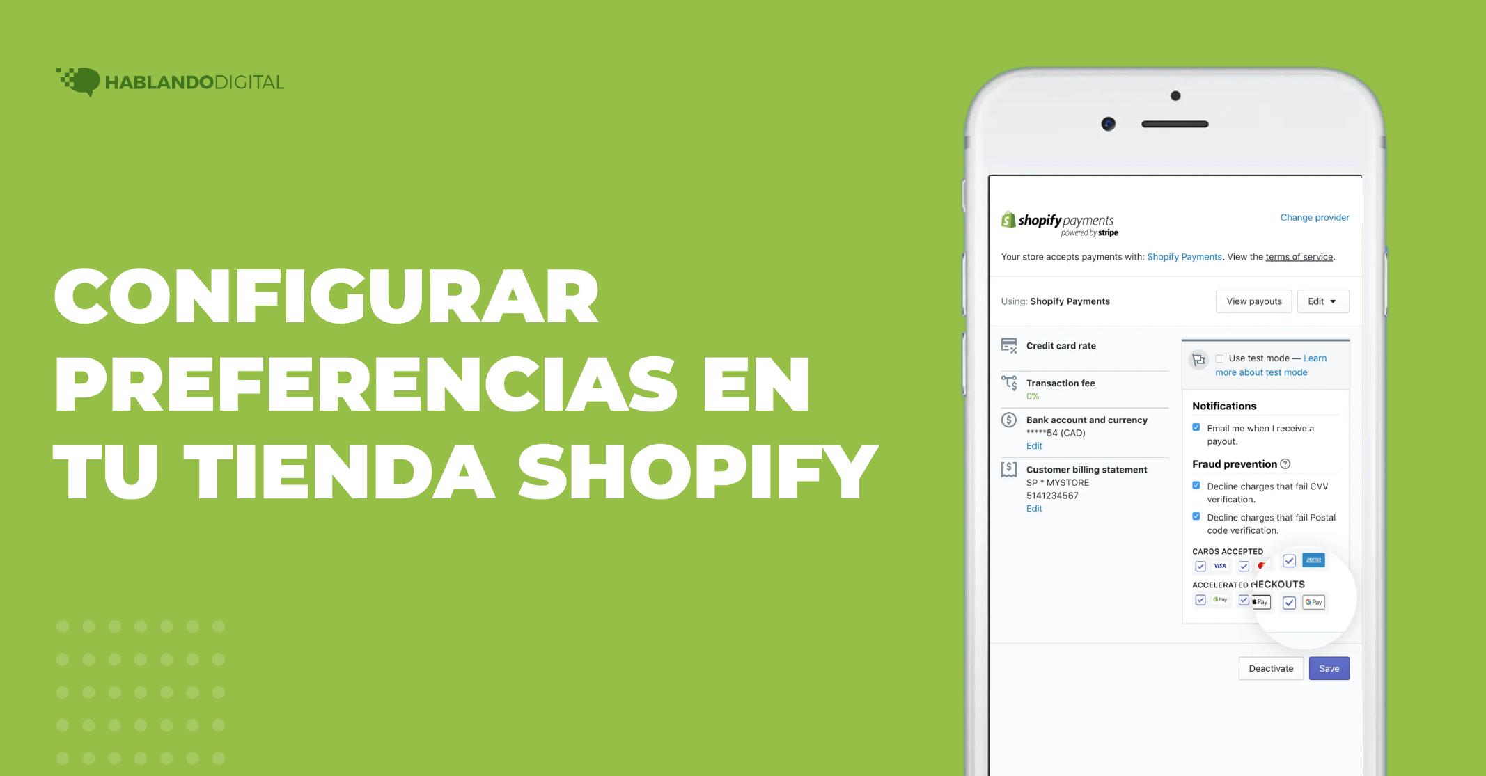 Configurar preferencias en tu tienda Shopify