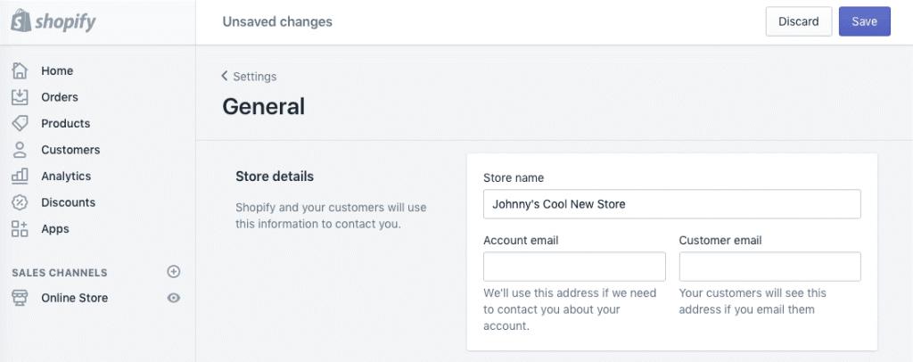 Configuración general de tienda de Shopify