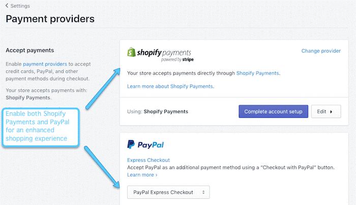 Configurar proveedores de pago en su tienda de Shopify
