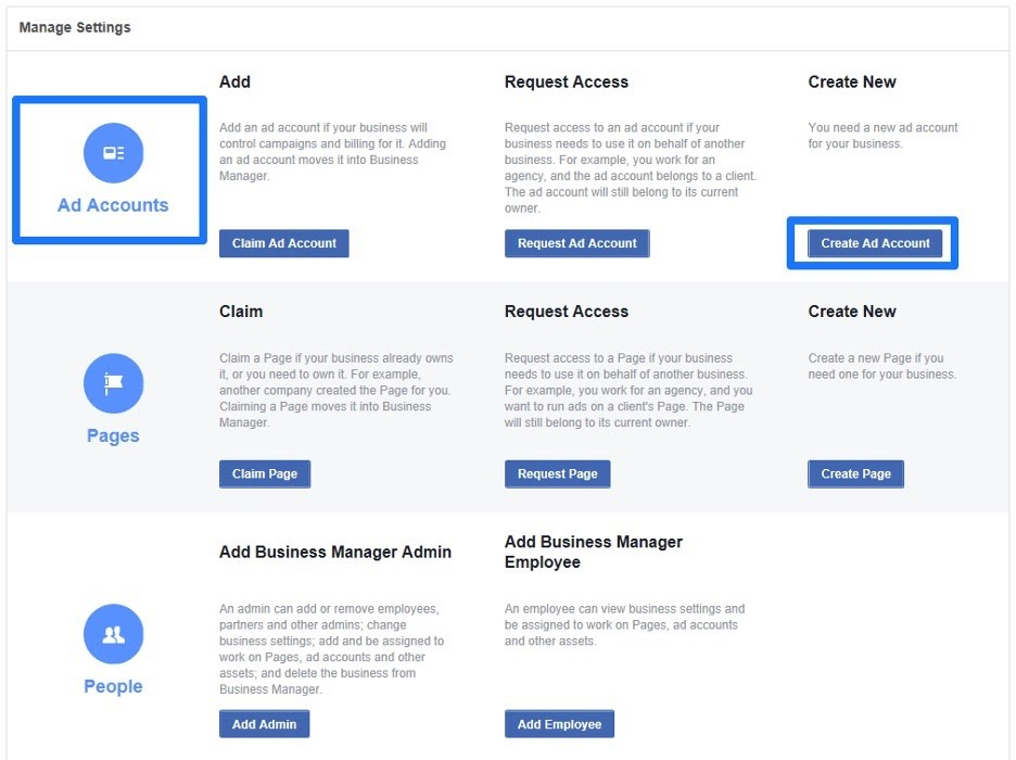 Añadir cuenta publicitaria en administrador comercial de Facebook