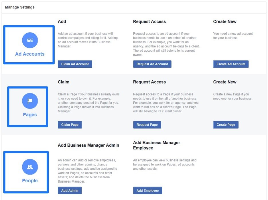 Aministrar cuenta de administrador comercial de facebook