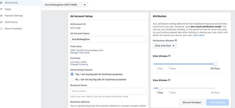 Ajustar la atribución en una cuenta comercial de Facebook