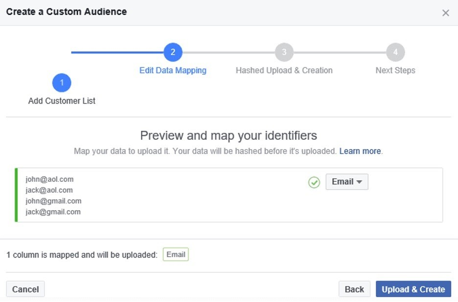 Asignar identificadores para las audiencias personalizadas