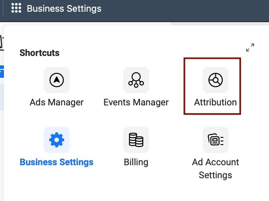 Opción de atribución en cuenta de administrador comercial de Facebook