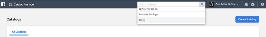Barra de búsqueda en Administrado Comercial de Facebook