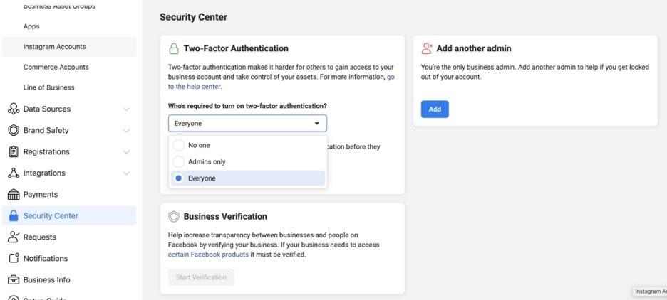 Centro de seguridad del administrador comercial en Facebook