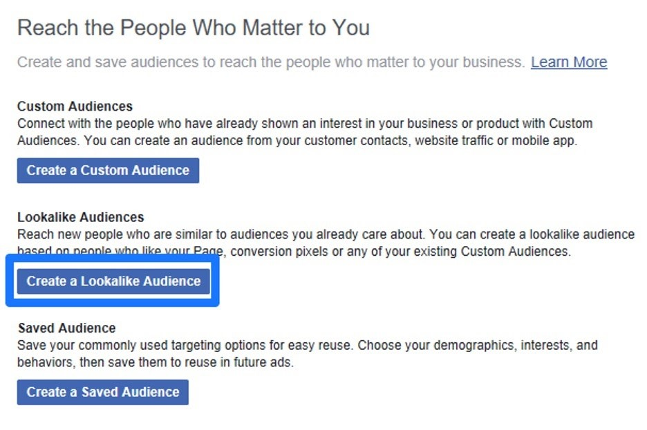 Crear Lookalike audience en Facebook