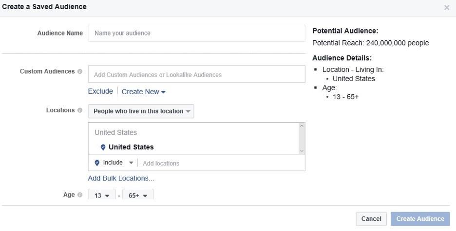 Crear una audiencia en Facebook desde cero