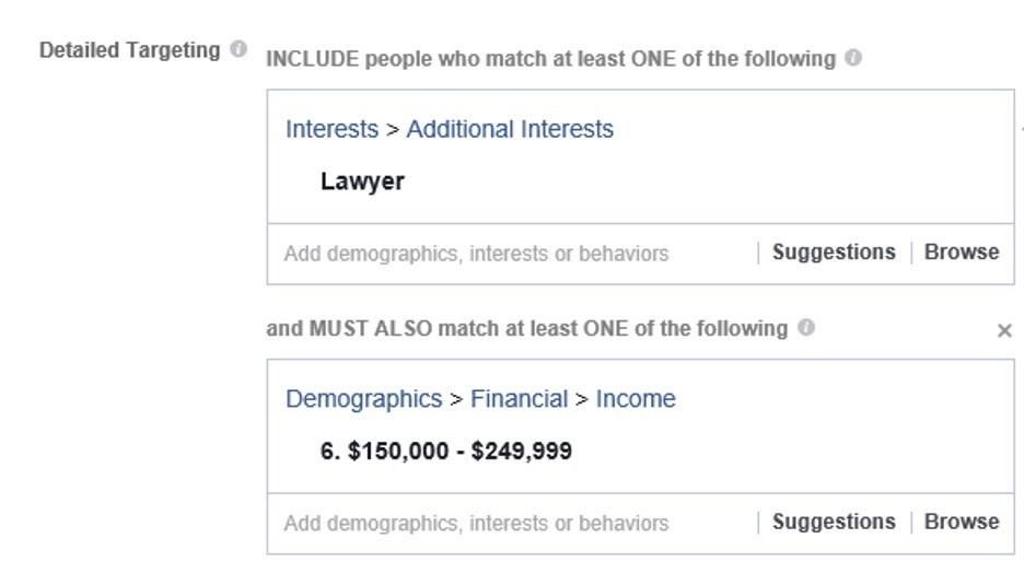 Crear audiencia detalla en el administrador comercial de Facebook