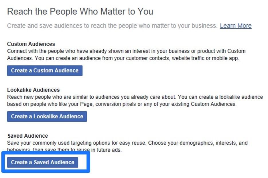 Crear audiencia guardadad en el administrador comercial de Facebook