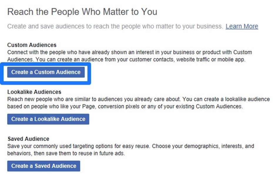Crear audiencia personalizada en el administrador comercial de Facebook