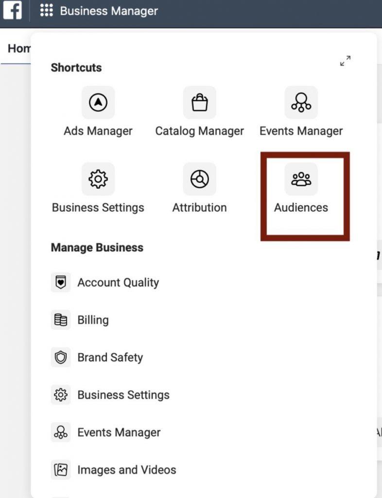 Crear nueva audiencia en administrador comercial de Facebook
