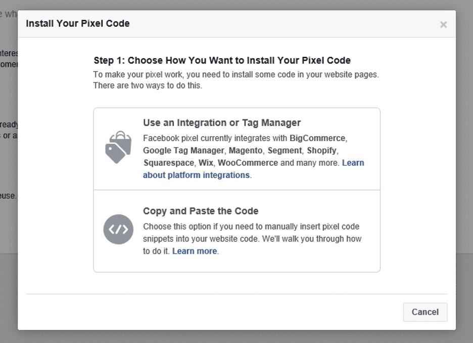 Instalar código de pixel en Facebook
