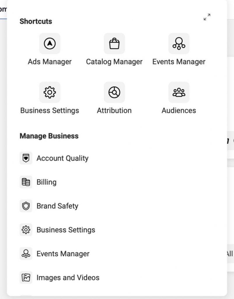 Opciones en administrador comercial de Facebook