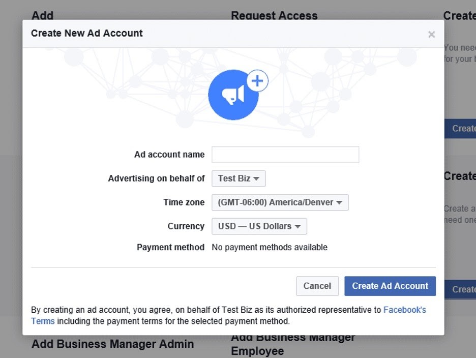 Perfil de administrador comercial en Facebook