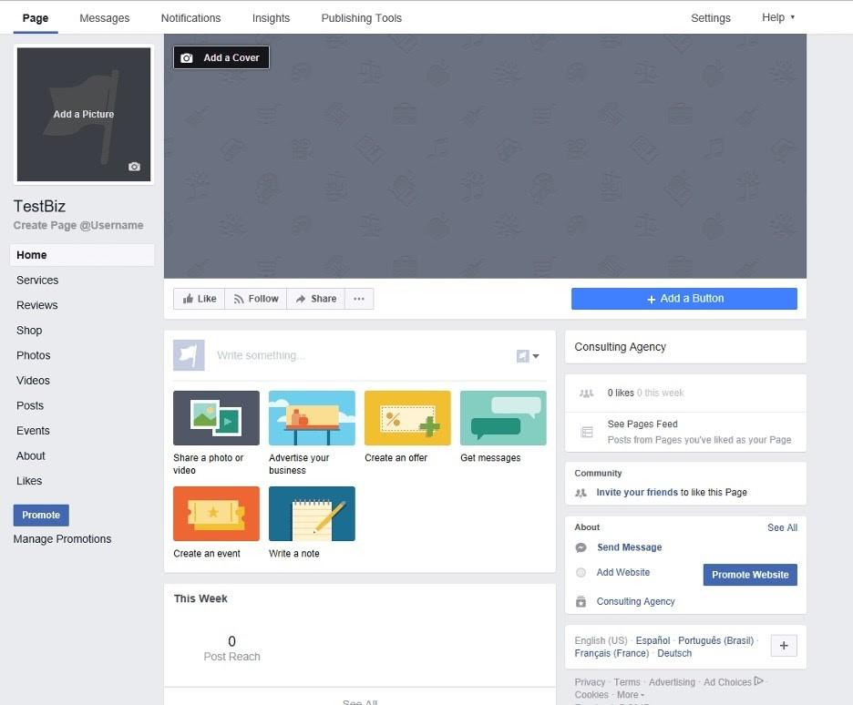 Personalizar página comercial en Facebook