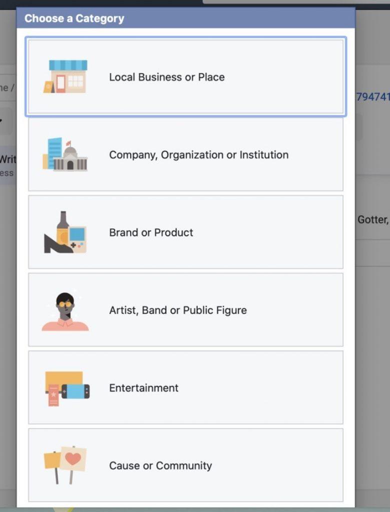 Seleccionar la categoria de la página comercial en Facebook