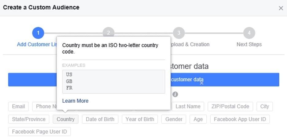 Seleccionar los paises de su audiencia personalizada