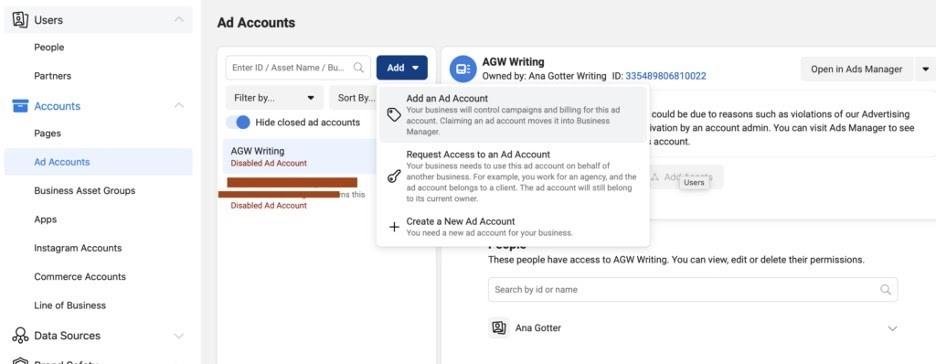 Solicitar acceso o propriedad de página comercial en Facebook