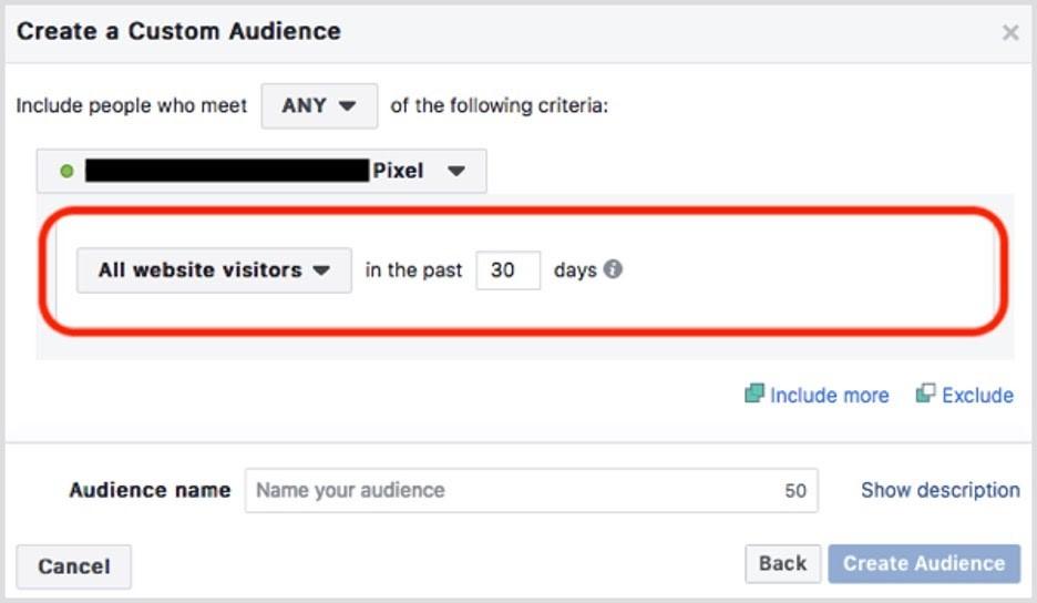 pixel Facebook para crear audiencia personalizada