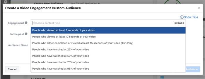 Duracion del video en pixel de facebook